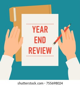 Vector concept illustration on 'Year End Review' in business and industry with flat lay view hands, sheet of paper, file folder, pencil and sample title