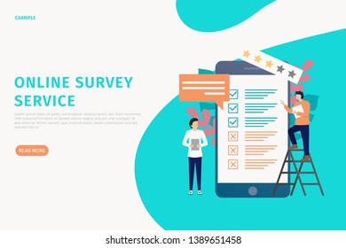 Vector concept of illustration online survey website, people fill out survey forms online on the phone. can be used for landing page websites, hompage, banners, leaflets, mobile apps. - Vector