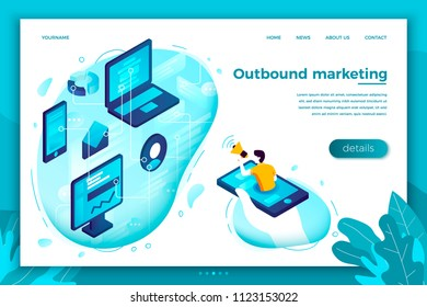 Vector concept illustration - outbound marketing, man with speaker. Modern bright banner, site template with place for your text.