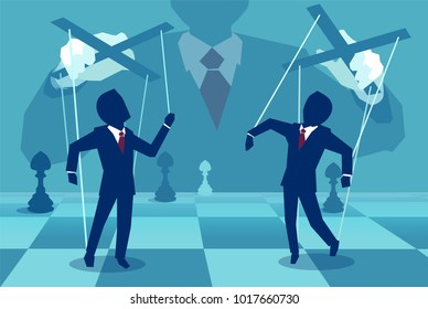 Vector concept illustration of person manipulating people behind the scenes.