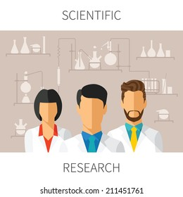Vector concept illustration of scientific research with scientists in chemical laboratory
