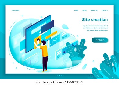 Vector concept illustration -  site creation process. Modern bright banner, site template with place for your text.