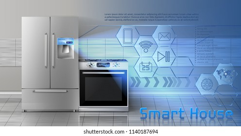 Vector concept illustration of smart house, internet of things, wireless digital technologies to manage household appliances. Background with kitchen stove, refrigerator and blue virtual interface