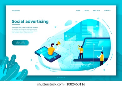 Vector concept illustration -  social network advertisement work process, people chatting,. Modern bright banner, site template with place for your text.