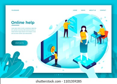 Vector concept illustration -  support manager, fixing client problems. Modern bright banner, site template with place for your text.