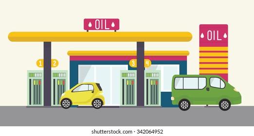 Vector concept illustration, urban landscape. Flat gas station, oil, car, cafe