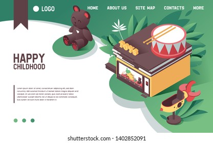 Vector concept illustration with vivid green scene kids toys store in isometric style. 3d shop illustration good for landing page or banner design