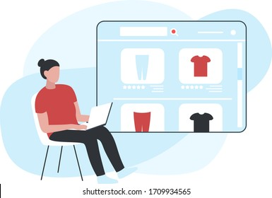 Vector concept illustration of a woman piking clothes from laptop screen, looking through items in an online store. It represents a concept of online shopping, website design or modern landing page