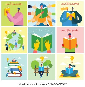 Vector concept illustrations of World Book Day and Book festival in the flat style. People sit, stand and walk and read a book
