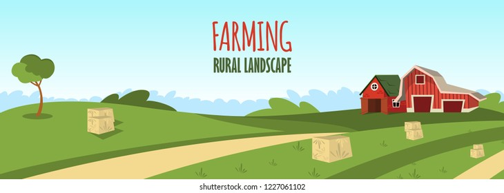Vector concept image farming rural landscape. Vector illustration of a cartoon a wooden red farm with a hangar on the outskirts of a rural village. The concept of clean living far from the metropolis