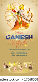 VECTOR CONCEPT FOR INDIAN LORD GANESHA FESTIVAL WITH HINDI TEXT MEANS GANESHA CHATURTHI , ILLUSTRATION IS SHOWING INDIAN GOD GANESHA ON SHINNY BACKGROUND, DEVOTEES  ARE CELEBRATING THE FESTIVAL