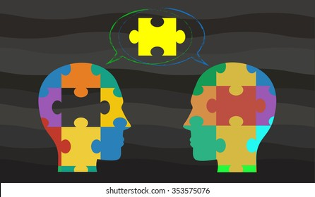 Vector concept indicating the idea of brainstorming through two heads made of jigsaw pieces