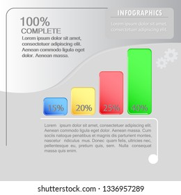 A vector concept of the infographic design. Four-step percentage breakdown.