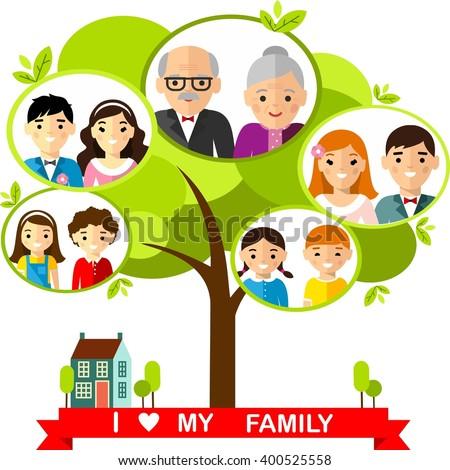 vector concept international family tree set stock vector royalty