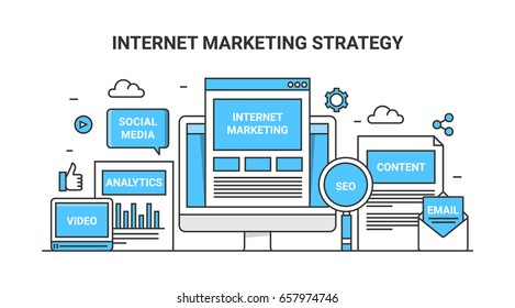 Vector concept internet marketing strategy including SEO, social media, email, content, and video marketing icons flat outline banner