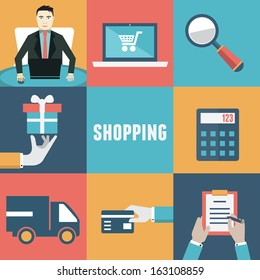 Vector concept of internet shopping. Order and delivery. Flat style design - vector illustration