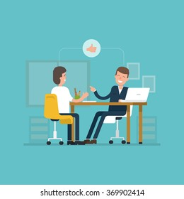 Vector concept interviews by the candidate in flat style. Jobseeker and employer sit at the table and talk. Good impression. Thumbs up! Simple concept with working situation, recruitment or hiring.