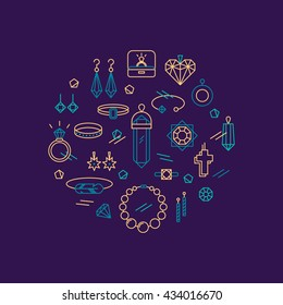 Vector concept of jewelry, handmade accessories, fashion, luxury items. Modern thin line style. Trendy hipster backgrounds and logotypes.