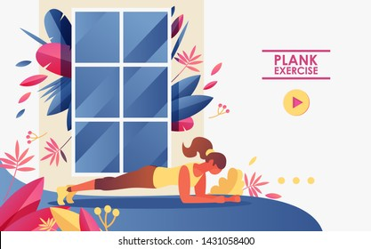Vector concept landing page good for web sites of gym and home workout. Girl doing plank exercise in front of window
