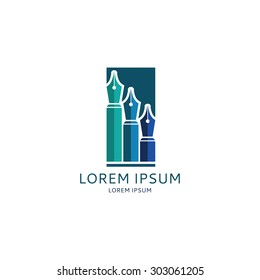 Vector concept of logo of lawyers company with fountain pens. Template icon of lawyers company in the form of skyscrapers.