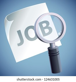Vector concept with magnifying glass icon - job search