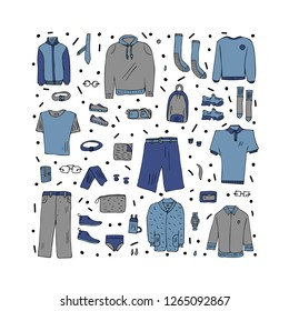 Vector concept with men apparel and accessories set in doodle style. Collection of male clothes, shoes isolated on white background.