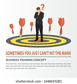 Vector concept of missed target business strategy. Businessman looking at dart board. Darts missed the target.  Business training, education, analysis concept.