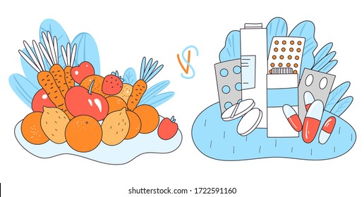 Vector concept of natural vital elements from healthy food - vegetables and fruits versus chemical medical drugs, pills and pharmacological products. Chemical man-made treatment versus natural healing