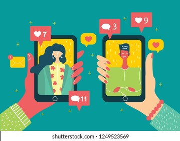 Vector concept on online dating application in flat design. Male and female hands holding mobile phones with abstract dating app profile on display.