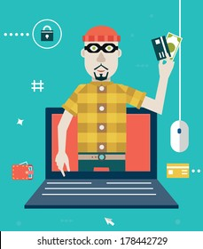 Vector concept of online fraud. Hacking private account. Flat style design - vector illustration