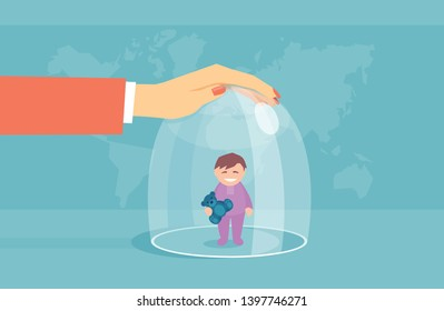 Vector concept of an overprotective mother keeping a child in a glass dome