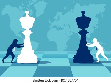 Vector concept picture of businessmen moving chess pieces on board of worldwide politics.