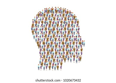 Vector concept picture of people composed in shape of head on white. Together we are a strong power. Creative team. Collective brain concept. Eps vector illustration