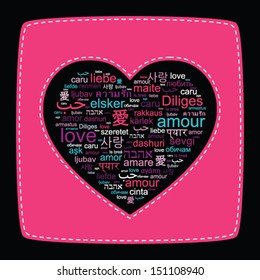 """Vector concept pink heart shape made of words """"love"""" in thirty languages"""