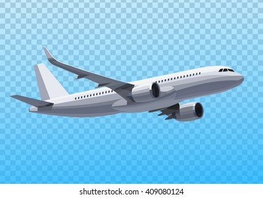 Vector Concept Plane. Realistic Illustration on the Transparent Background.