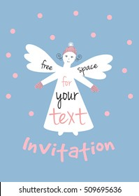 Vector concept poster, announcement or invitation for a Christmas fair. White angel on the sky and falling snow background    with free space for your text.
