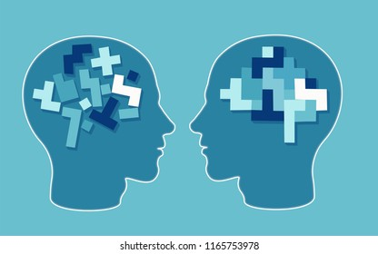 Vector concept of a puzzle head brain neurology and psychology. Rational and irrational thinking in the form of colourful arranged and disarranged shapes inside human head.