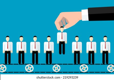 Vector concept of searching for professional stuff, head hunter job, employment issue, human resources management or analysing personnel resume.