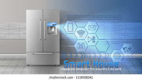 Vector concept of smart house, wireless digital technologies to manage and control household appliances from anywhere. Background with refrigerator and blue virtual interface with icons