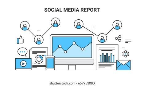 Vector concept social media report, analytics, social media advertising flat outline banner
