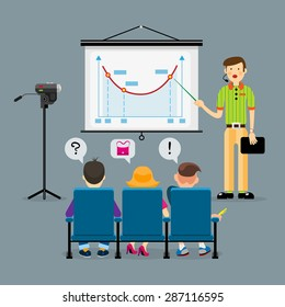 vector concept of speaker before an audience. flat cartoon style