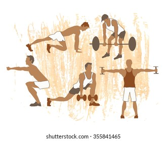Vector concept of sport motivation poster. Athlete Sport inscriptions. Good for sport editions, fitness club, magazines and websites. Isolated objects on white background.