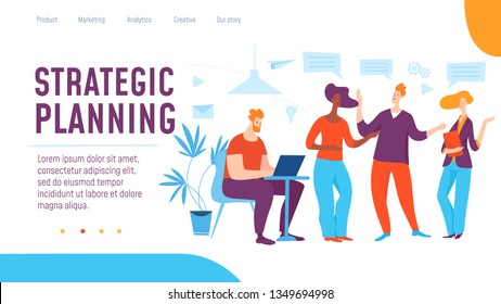 Vector concept strategic planning template.  Thinking and brainstorming on solution and success, business strategy. Great design for presentation, web, internet, advertisment and landing page template