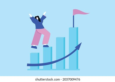 Vector concept of success step by step businesswoman goes to success. Jump on the bars graph to the success flag. Achievements, success, motivation. Vector illustration.