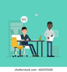 Vector concept of unsuccessful interview with foreign worker. Flat illustration with jobseeker and employer. Bad impression. Refusal. Simple working situation, recruitment or hiring.