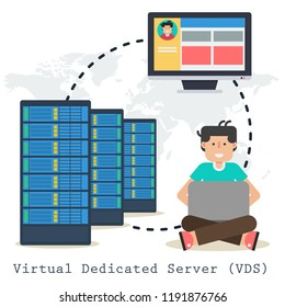 Vector concept Virtual Dedicated Server -VDS - on white background. Administrator with laptop, computer and web server in flat style