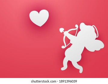 Vector concept of web banner for valentine's day. A paper cupid with a bow and arrow in his hands is aiming at a paper heart. Valentine's Day.