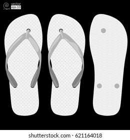 vector concept of white comfortable rubber slippers on black background. top view