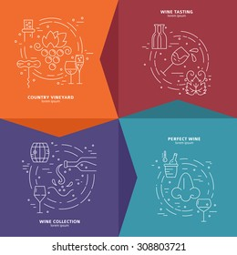 Vector concept of wine making process. Perfect design element for advertising, banners and flyers with wine symbols made in modern line style.