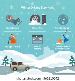 Vector Concept of Winter Driving Essentials